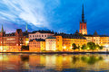 Evening scenery of stockholm sweden beautiful scenic panorama the old town gamla stan pier architecture in Royalty Free Stock Image