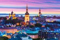 Evening scenery of tallinn estonia scenic summer aerial panorama the old town architecture in Stock Photography