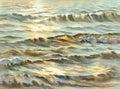 Evening sea sun watercolor Royalty Free Stock Photo