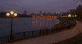 Evening shot of promenade in donetsk on the river kalmius ukraine Stock Photography