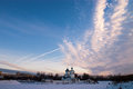Evening sky the above the temple winter frost in christmas Royalty Free Stock Photography