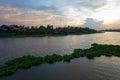 Evening sky at tha chin river maenam tha chin nakhon pathom thailand is a distributary of the chao phraya Stock Photos