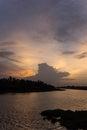 Evening sky at tha chin river maenam tha chin nakhon pathom thailand is a distributary of the chao phraya Stock Image