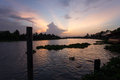 Evening sky at tha chin river maenam tha chin nakhon pathom thailand is a distributary of the chao phraya Royalty Free Stock Photos