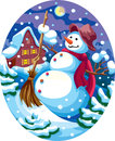 Evening snowman christmas landscape with a Royalty Free Stock Photography