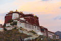 Evening sunset potala palace profile lhasa tibet darkness approaches at the gloomy as the fades in the sky in china Royalty Free Stock Image