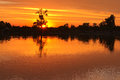 Evening sunset on the river the sun sets behind the horizon summer desna ukraine Royalty Free Stock Photos
