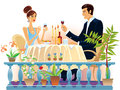 Evening supper a girl and a man sitting in the at a table and drinking wine Royalty Free Stock Photos