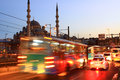 Evening traffic istanbul at eminonu motion blur Stock Photos
