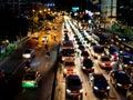 Urban night traffic in the big city Royalty Free Stock Photo
