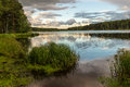 Evening on the ural river russia Stock Photo
