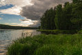 Evening on the ural river russia Stock Photography