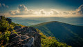 Evening view from cliffs on hawksbill summit in shenandoah nati national park virginia Royalty Free Stock Photography