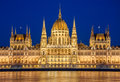 Evening view of the Hungarian Parliament Building on the bank of the Danube in Budapest, Hungary Royalty Free Stock Photo