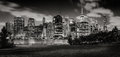 Evening view of Lower Manhattan skyscrapers across Brooklyn Bridge Park in Black & White Royalty Free Stock Photo