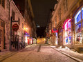 Evening view one narrow cobblestone streets old quebec city s stores shops Royalty Free Stock Photography