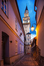 Evening view on the saint nikolas cathedra in bielsko biala poland august this is of biggest churches city Royalty Free Stock Photos
