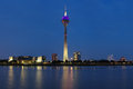 Evening view on the TV tower in Dusseldorf Royalty Free Stock Photo