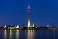 Evening view on the TV tower in Dusseldorf Royalty Free Stock Images