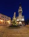 Evening view under new year on the saint nikolas cathedra in bi bielsko biala poland Royalty Free Stock Photography