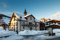Evening village megeve french alps france Stock Photography