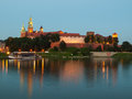 Evening at vistula river in krakow and wawel castle poland Royalty Free Stock Photo