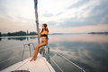 Evening walk on a yacht. Royalty Free Stock Photo