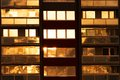 Evening window windows in a block of flats Royalty Free Stock Photography