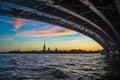 Evening on yhe neva river sky sunset sunrise city bridge cluds saintpetersburg Royalty Free Stock Image