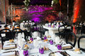 Event guest tables decoration wedding or in amber purple crystal silver white and black silvery candelabrums and cutlery beautiful Royalty Free Stock Photos