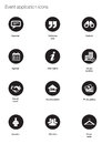 Event icons white silhouette application in black buttons on white background Stock Image