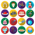 Event service set icons in flat style. Big collection of event service vector symbol stock illustration