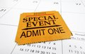 Event ticket stub a closeup of a special on a calendar Royalty Free Stock Image