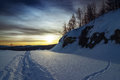 Eventide winter quiet frosty evening in the mountains Royalty Free Stock Image
