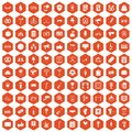 100 events icons hexagon orange