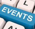 Events key means occasion or incident on keyboard meaning occurrence happening Royalty Free Stock Image