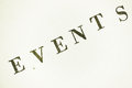 Events lettering stamp text on paper Royalty Free Stock Photography