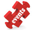 Events puzzle means concerts occasions events meaning or functions Stock Image