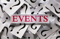 Events questions about the too many question marks Stock Photo