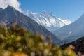 Everest and Lhotse mountain peak, Namche Bazaar, Nepal Royalty Free Stock Photo