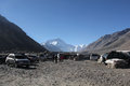 Everest north base camp tibet in at metres is a rudimentary campsite on mount that is used by mountain climbers during their Royalty Free Stock Photo