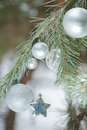 Evergreen live snowy branch with Christmas metal silver ornaments and sparkles star Royalty Free Stock Photo