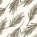 Evergreen tree pattern. Vintage New year vector texture. Forest seasonal Christmas cover background. Botany winter holidays surfac Royalty Free Stock Photo