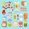 Everyday food icons patchwork vector.