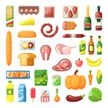 Everyday supermarket food items assortment flat vector illustrations set Royalty Free Stock Photo