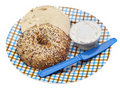 Everything Bagel with Cream Cheese Royalty Free Stock Photo