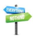 Everything nothing road sign illustration design over a white background Royalty Free Stock Image