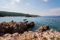 Evia island coast view of rocky in summer greece europe Royalty Free Stock Images