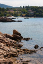 Evia island coast view of rocky in summer greece europe Stock Photography