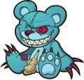 Evil blue teddy bear sitting down. Royalty Free Stock Photo